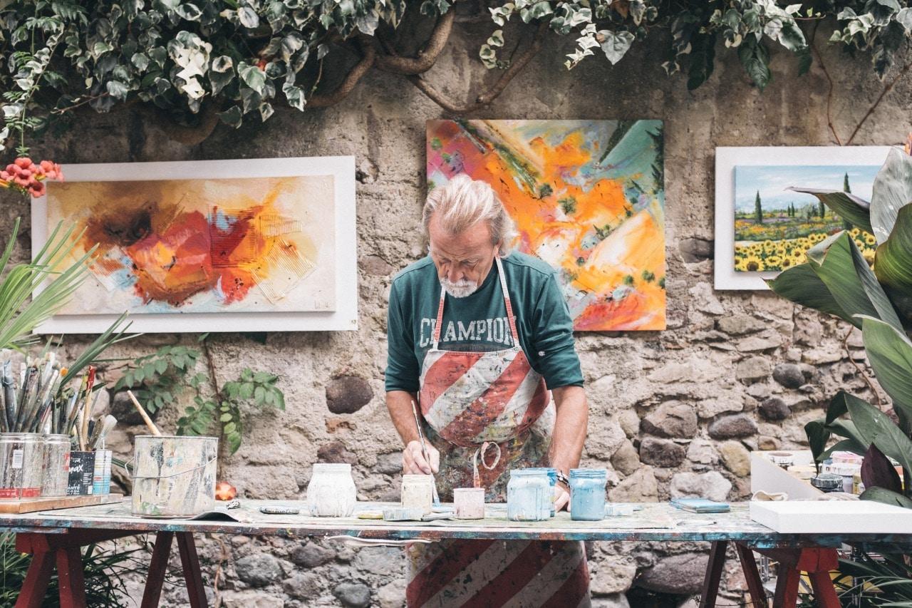 man, painting, hobby