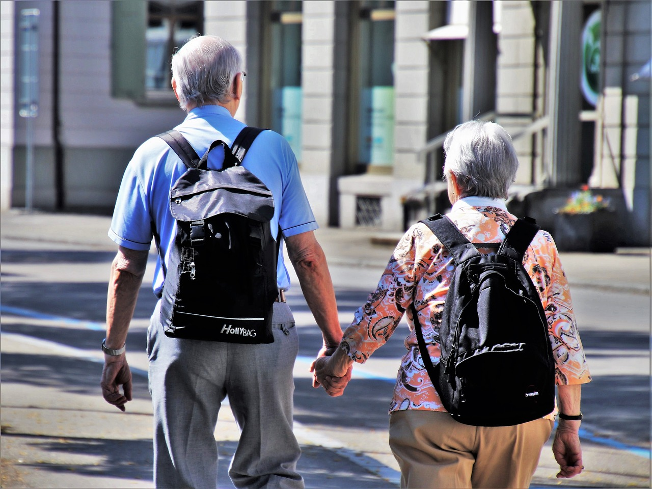 older couple walking